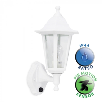 Outdoor IP44 Wall Lantern with PIR Sensor White/Clear