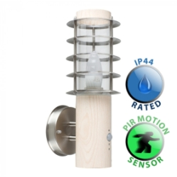 Outdoor IP44 Wharf PIR Wall Lantern Oak/Frosted