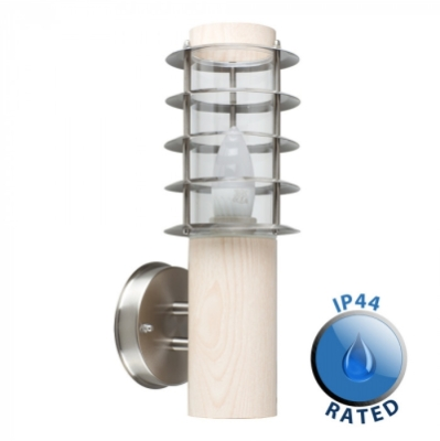 Outdoor IP44 Wharf Wall Lantern Oak/Frosted