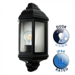 Outdoor IP44 Wiltshire Wall Dusk Till Dawn Lantern Black/Frosted