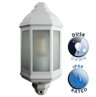 Outdoor IP44 Wiltshire Wall Dusk Till Dawn Lantern White/Frosted