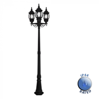 Outdoor IP44 Windsor 3 Way Post Lamp Black/Clear