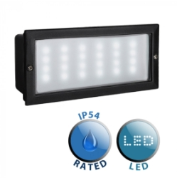 Outdoor IP54 Townsend LED Aluminium Brick Light Black/Frosted