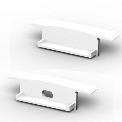 P14 Strip Wide Recessed White Profile End Cap Set