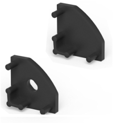 P3 Strip Corner Black Profile End Cap Set (For C1 & C4 Diffusers)