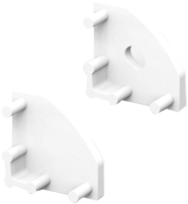 P3 Strip Corner White Profile End Cap Set (For C1 & C4 Diffusers)