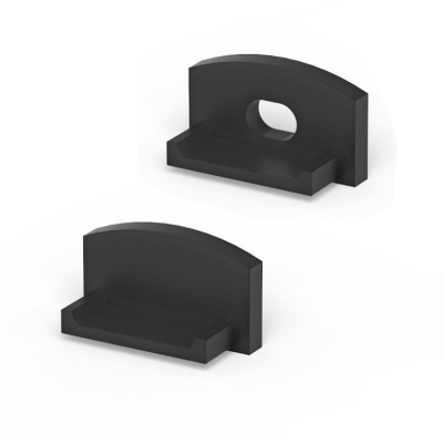 P4 Strip Recessed Black Profile End Cap Set (For C1 Diffuser)