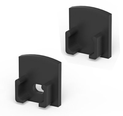 P5 Strip Recessed Black Profile End Cap Set