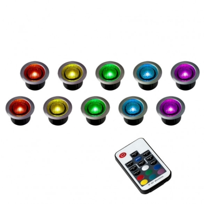 Pack of 10 40mm Remote Control RGB LED Decking Lights Multi