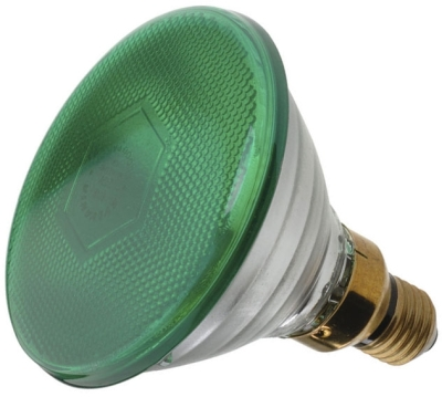 This is a 80W 26-27mm ES/E27 Reflector/Spotlight bulb that produces a Green light which can be used in domestic and commercial applications