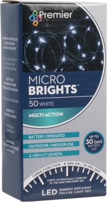 Premier 50 LEDs Battery Operated Micro Lights White
