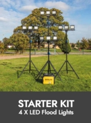 Prolite Sports Lighting – 4x LED Triple-Head Floodlight / Tripod Kits (6 Hour Generator Included)