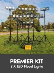 Prolite Sports Lighting – 8x LED Triple-Head Tripod Kits (4 Hour Generator Included)