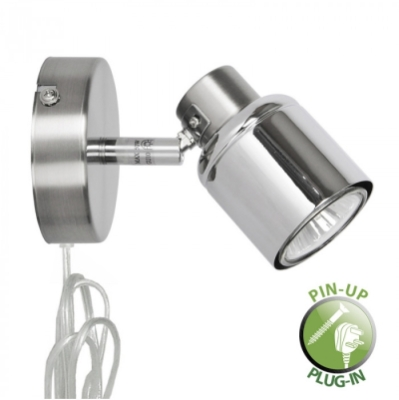 Satin Nickel Brenton Single Spotlight with Cable Plug and Switch