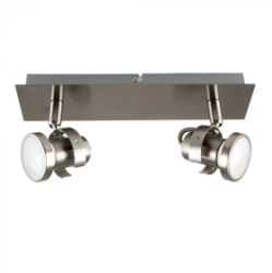 Satin Nickel Phaeton 2 Way GU10 Rectangular Plate Spotlight