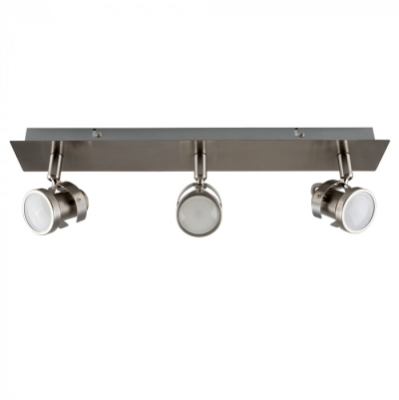 Satin Nickel Phaeton 3 Way GU10 Rectangular Plate Spotlight