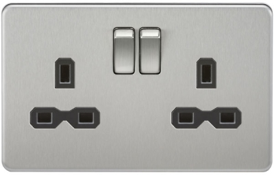 Screwless 13A DP Switched Socket in Brushed Chrome with Black Insert