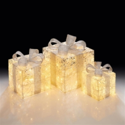 Set of 3 Battery Powered Gold and Silver Novelty Christmas LED Parcel Lights