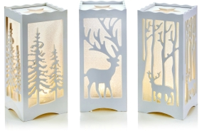 Set of 3 Large White Novelty Christmas Woodland Theme Lights