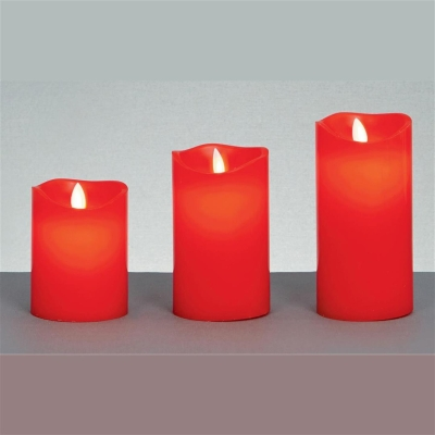 Set of 3 Red Novelty Christmas Dancing-Flame LED Candle Lights