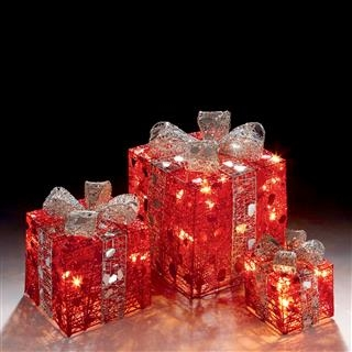 Set of 3 Red and Silver Novelty Christmas Parcel Lights with 40 Fairy Lights Included