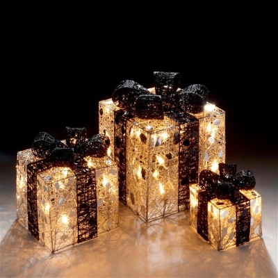 Set of 3 Silver and Black Novelty Christmas Parcel Lights with 40 Fairy Lights Included