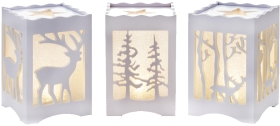 Set of 3 White Novelty Christmas Woodland Theme Lights