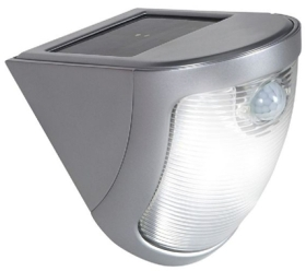Silver Finish Solar LED Security Light with Motion Sensor
