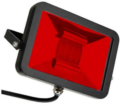 This is a 10 W Flood Light bulb that produces a Red light which can be used in domestic and commercial applications