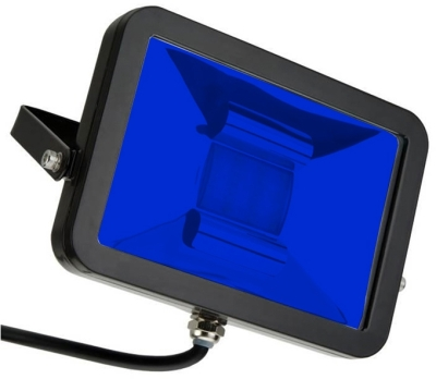This is a 30 W Flood Light bulb that produces a Blue light which can be used in domestic and commercial applications