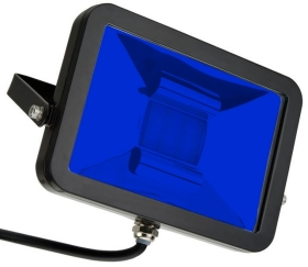 This is a 50 W Flood Light bulb that produces a Blue light which can be used in domestic and commercial applications
