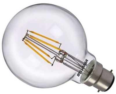 Sylvania LED Filament 4W BC G80 Globe Very Warm White (40W Alternative) Clear Finish
