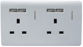 Trendi 2 Gang 13 Amp Short Switched Plug USB in Silver