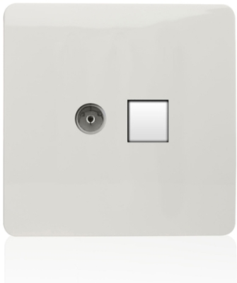 Trendi TV Co-Axial & Telephone Socket in White