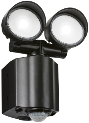 Twin Adjustable IP44 LED Floodlight With PIR 2x8W (Black Finish - American Daylight)