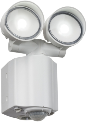 Twin Adjustable IP44 LED Floodlight With PIR 2x8W (White Finish - American Daylight)