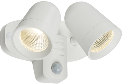 Twin IP65 Adjustable Wall LED Floodlight With PIR 2x9W 3500k 740lm (White Finish)