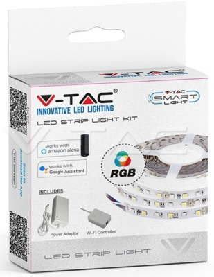 V-Tac 10W IP20 60 LED 8mm RGB 5M Strip Light (Compatible with Amazon Alexa and Google Home)