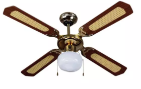 """V-Tac 42"""" Wood and Brass Ceiling Fan with Pull Chain Control"""