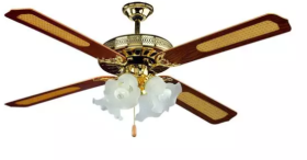 """V-Tac 52"""" Decorative Wood and Glass Ceiling Fan with Pull Chain Control"""