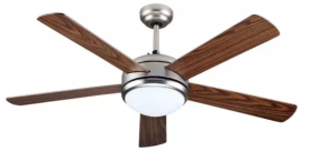 """V-Tac 52"""" Wood and Silver Ceiling Fan with Remote Control"""