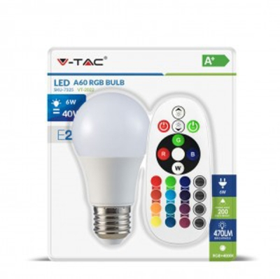 V-Tac 6W A60 RGB LED Bulb with Remote Control Cool White Blister Pack