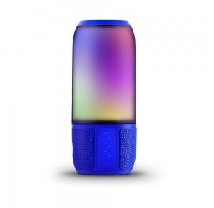 V-Tac 6W Portable Smart Speaker with LED, Bluetooth Technology, USB and Micro SD Card Slot (Blue)