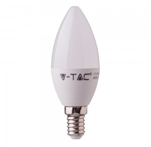 V-Tac 7W E14 LED Plastic Candle Bulb with Samsung Chip Warm White (45W Equivalent)