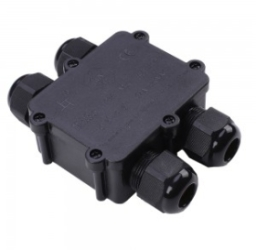 V-Tac IP68 Black 4 Pin Water Proof Terminal Block for Cable Diameter 8-12mm