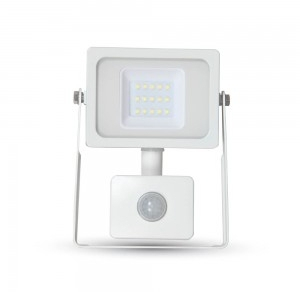 V-Tac LED PIR Floodlight 10 Watt 4500K Cool White (80W Alternative) White