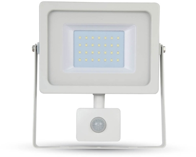 V-Tac LED PIR Floodlight 30 Watt 6400K Daylight (250W Alternative) White