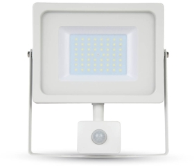 V-Tac LED PIR Floodlight 50 Watt 4000K Cool White (400W Alternative) White