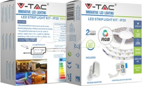 V-Tac LED Strip Complete Kit RGB 5m (Strip, RF Remote Control, Driver & Plug Included)