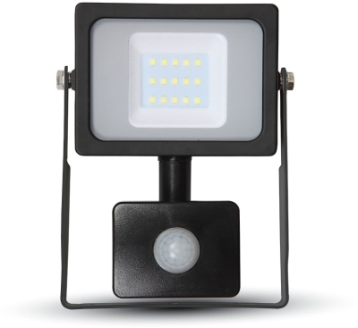 V-Tac Slimline LED Floodlight 10W Cool White with PIR Sensor (50W Alternative)